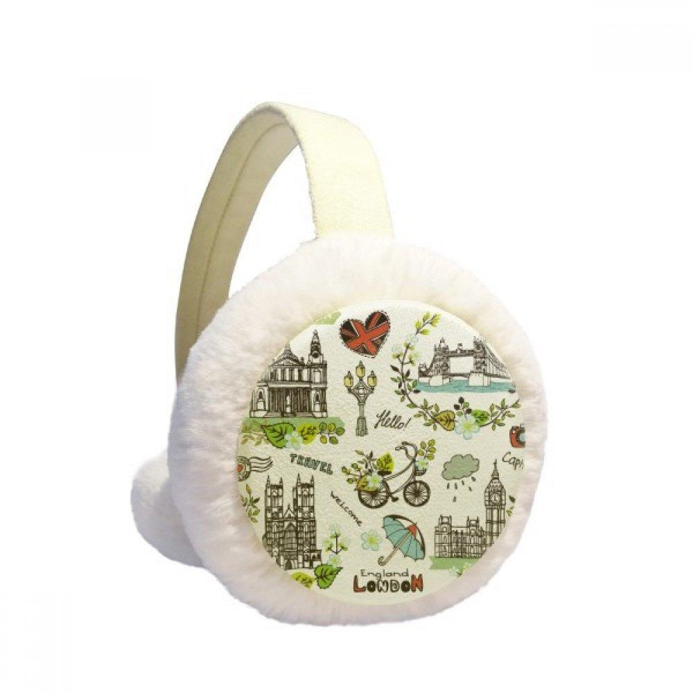 Spring Big Ben Buckingham England Winter Earmuffs Ear Warmers Faux Fur Foldable Plush Outdoor Gift