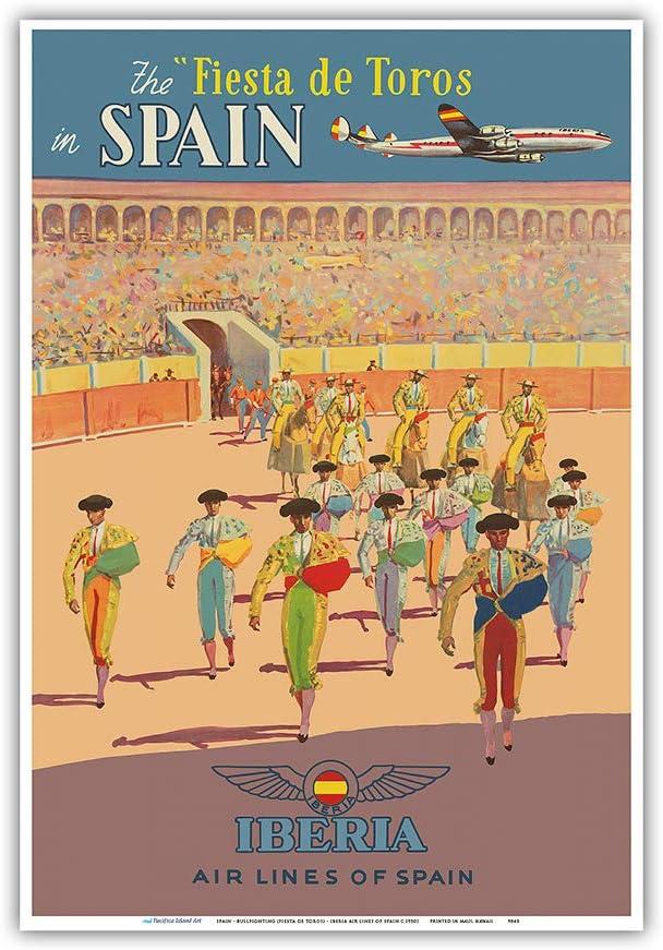 Pacifica Island Art - España - Fiesta de Toros - Iberia - Póster de Viaje de línea aérea c.1950s - Impresión de Arte - 23 x 31 cm: Amazon.es: Hogar