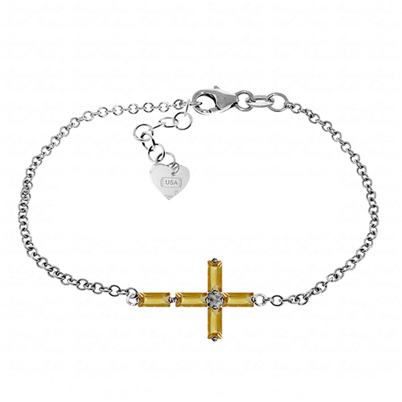 ALARRI 1.15 Carat 14K Solid White Gold Cross Bracelet Natural Citrine Size 9 Inch Length