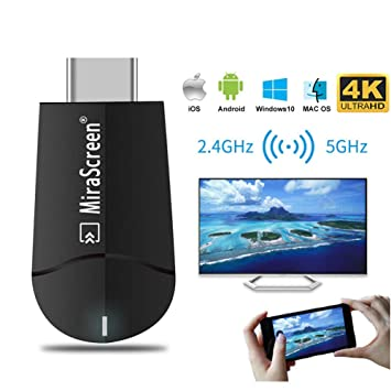 [Upgraded] MiraScreen 2 4G/5G WiFi Display Dongle Wireless HDMI Receiver  Adapter TV Stick Dual Core Dual Decoder Dual Band Support 4K/1080P Miracast