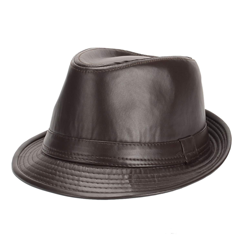 Amazon.com  Willie Marlow British Style Jazz Caps Hats Fashion Wool Felt  Fedoras Hat Solid Panama Formal Cap for Men Women Unisex Black Leather  58Cm  ... 60b173834bb
