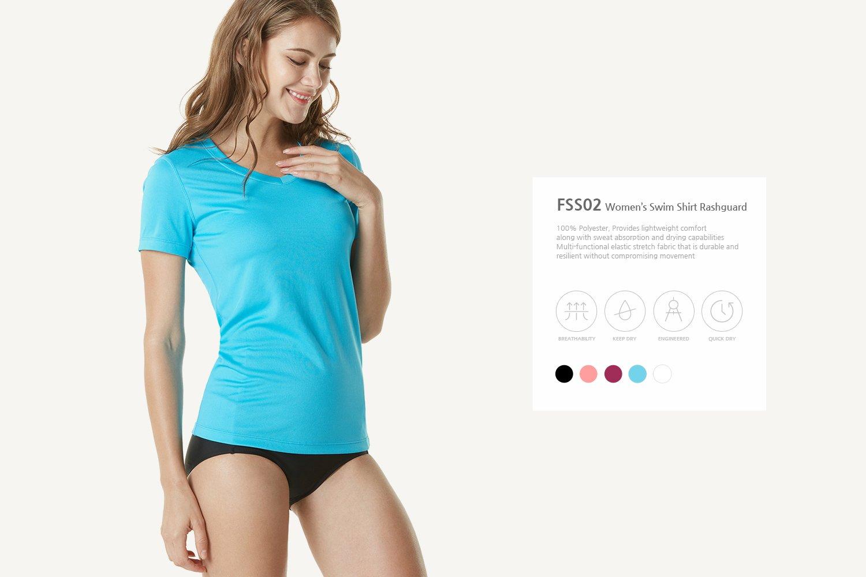 Tesla TM-FSS02-BLK_Large Women's UPF 50+Vneck Swimshirt Loose-Fit Short Sleeve Rashguard FSS02 by Tesla (Image #7)