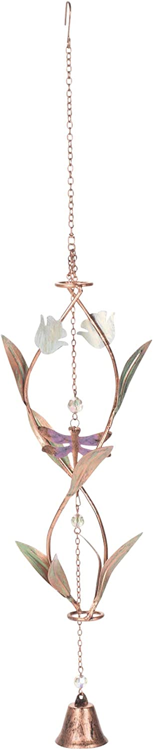 Grasslands Road Dragofly Helix Hanging Decorations - Home Garden Yard Hanging Décor - New Home Gift, Metal and Glass, 25 by 6 Inches