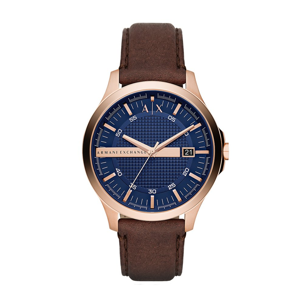 608bffe5fc32 Rose gold-tone watch featuring blue multitextured dial with Roman numeral  indices and Armani Exchange logo at 12 o clock
