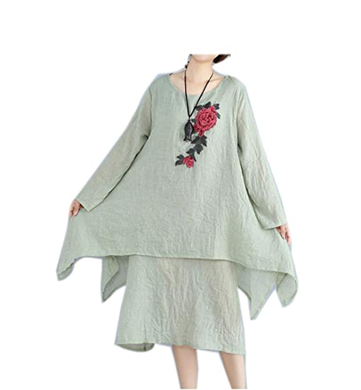 Paule Trevelyan NEW New Cotton Linen Vestidos Robe Elbise Double layer Women Long Dress Vintage long