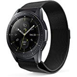 VICARA Compatible Samsung Galaxy Watch (42mm)/Galaxy Watch Active(40mm)band, Milanese Loop Adjustable Stainless Steel Replacement Wrist Band 20mm Megnetic Clasp Compatible Samsung Galaxy Watch 42mm SM-R810/SM-R815 Smart Watch (Black)
