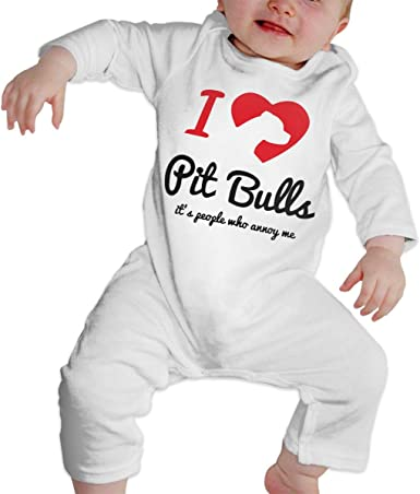 A1BY-5US Infant Babys Cotton Long Sleeve Pitbull Heart Jumpsuit Romper One-Piece Romper Clothes