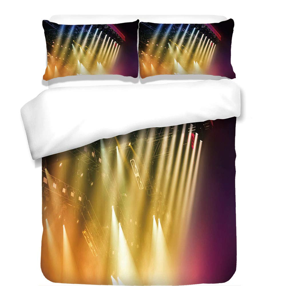 iPrint 3Pcs Duvet Cover Set,Musical Theatre Home Decor,Colorful Rays Concert Dance Music Staging Technology Smoky Night,Multicolor,Best Bedding Gifts for Family/Friends