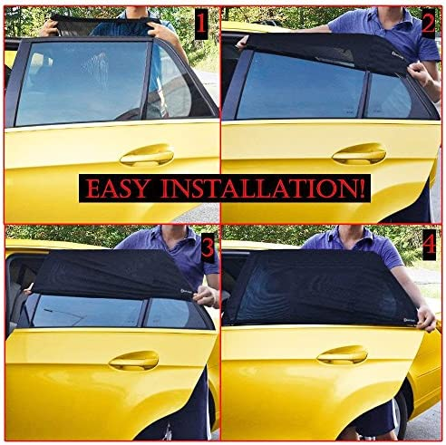 Zento Deals Universal Fit Slip On Car Side Window Baby Sun Shade Stretchable Mesh Window Cover Protects from The Sun Side Window Car 2 Pack