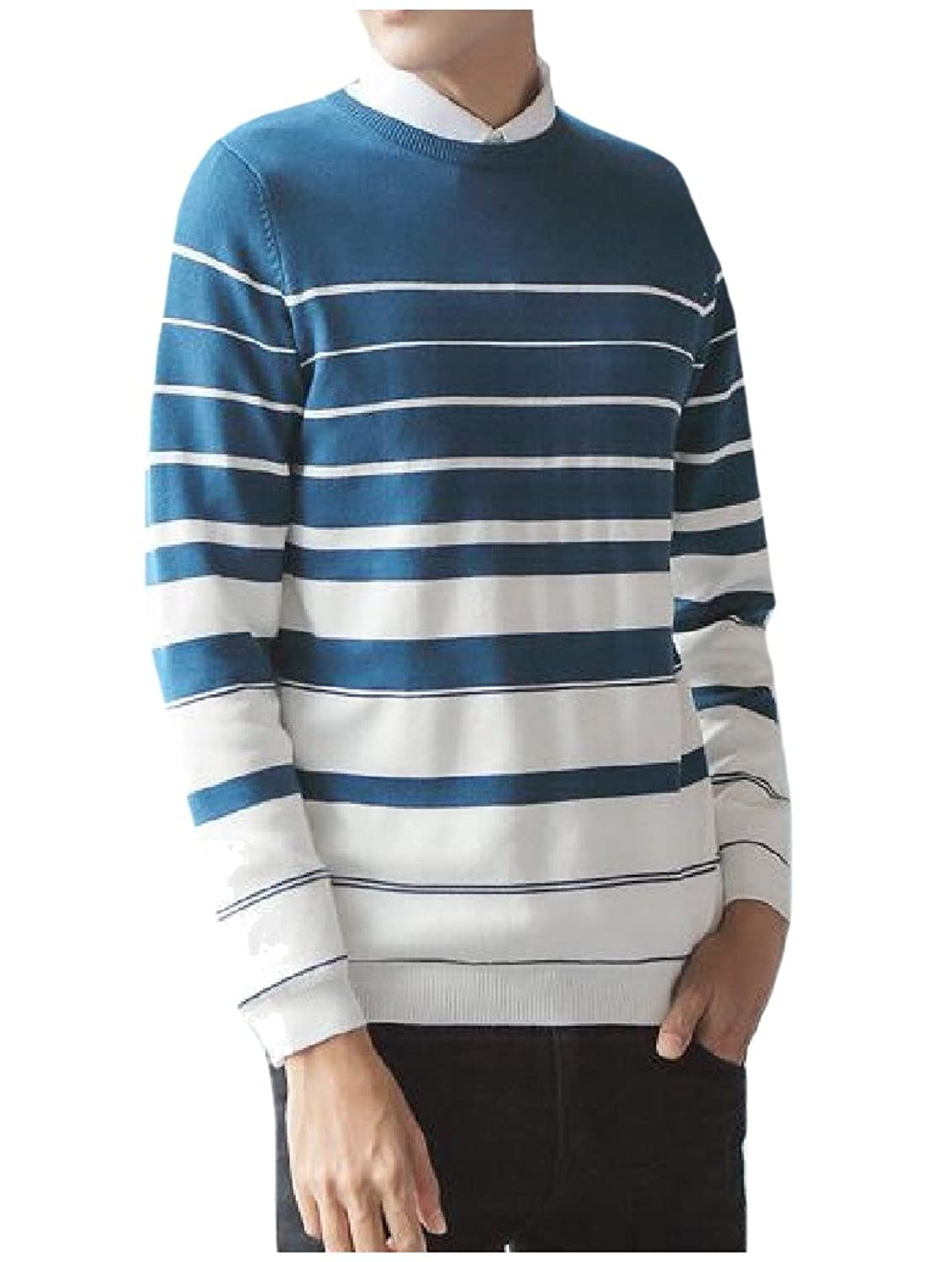 Nanquan Men Turtle Neck Solid Side Button Knit Pullover Sweater