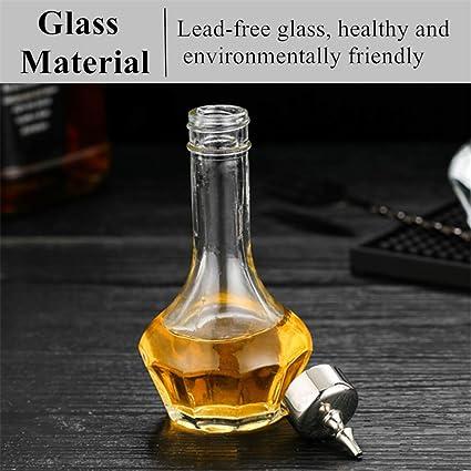 bleifreies Kristallglas mit Edelstahl-Dasher Top 50 ml Professionelles Bar-Werkzeug zum Basteln von Cocktails und dem perfekten Whiskey DSBT0001 gold Bitter-Flasche