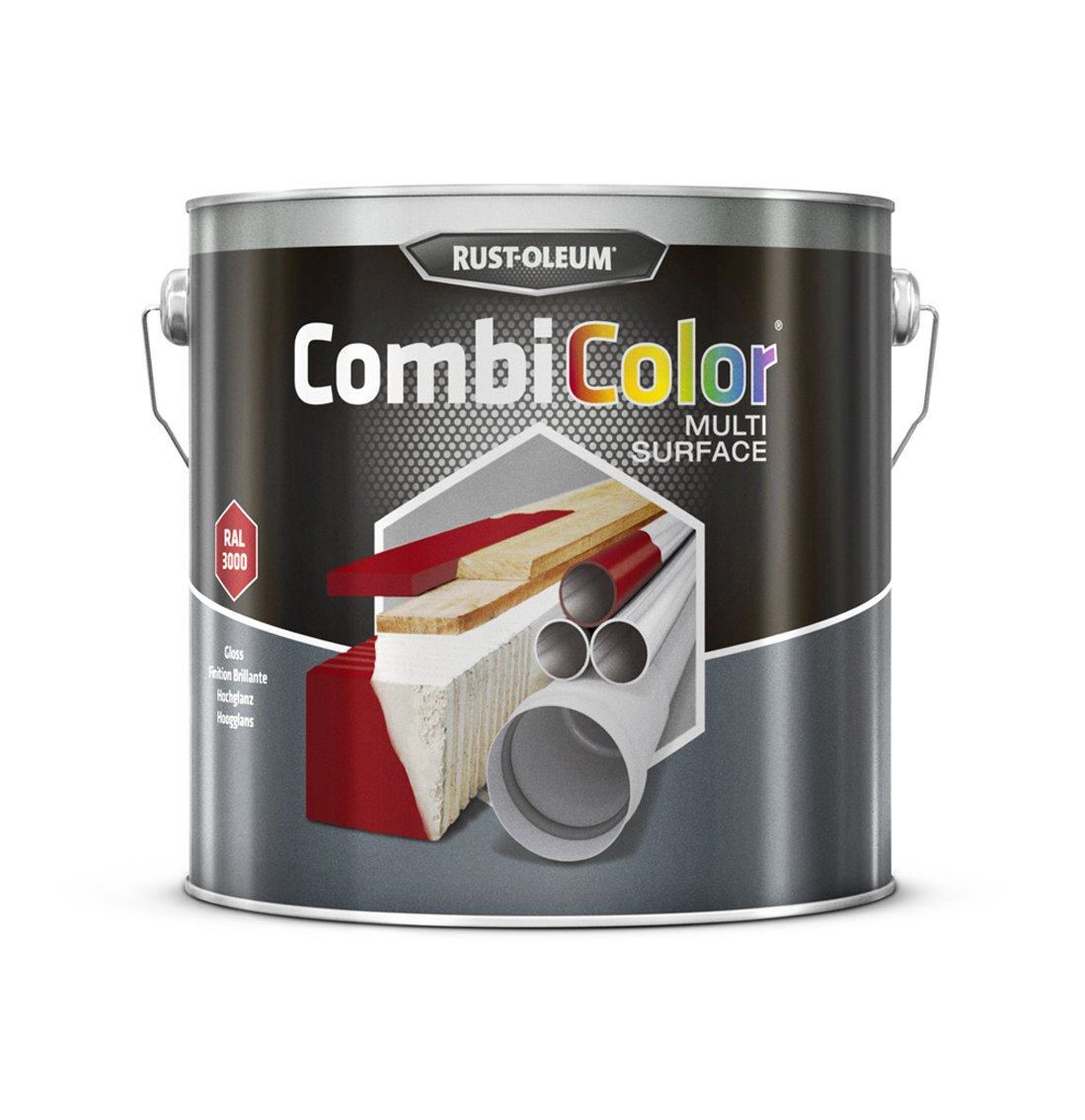 RUST-OLEUM 7365MS.2.5 Combicolor Multi-Surface, One Paint, Many Surfaces, Bright red-RAL 3000