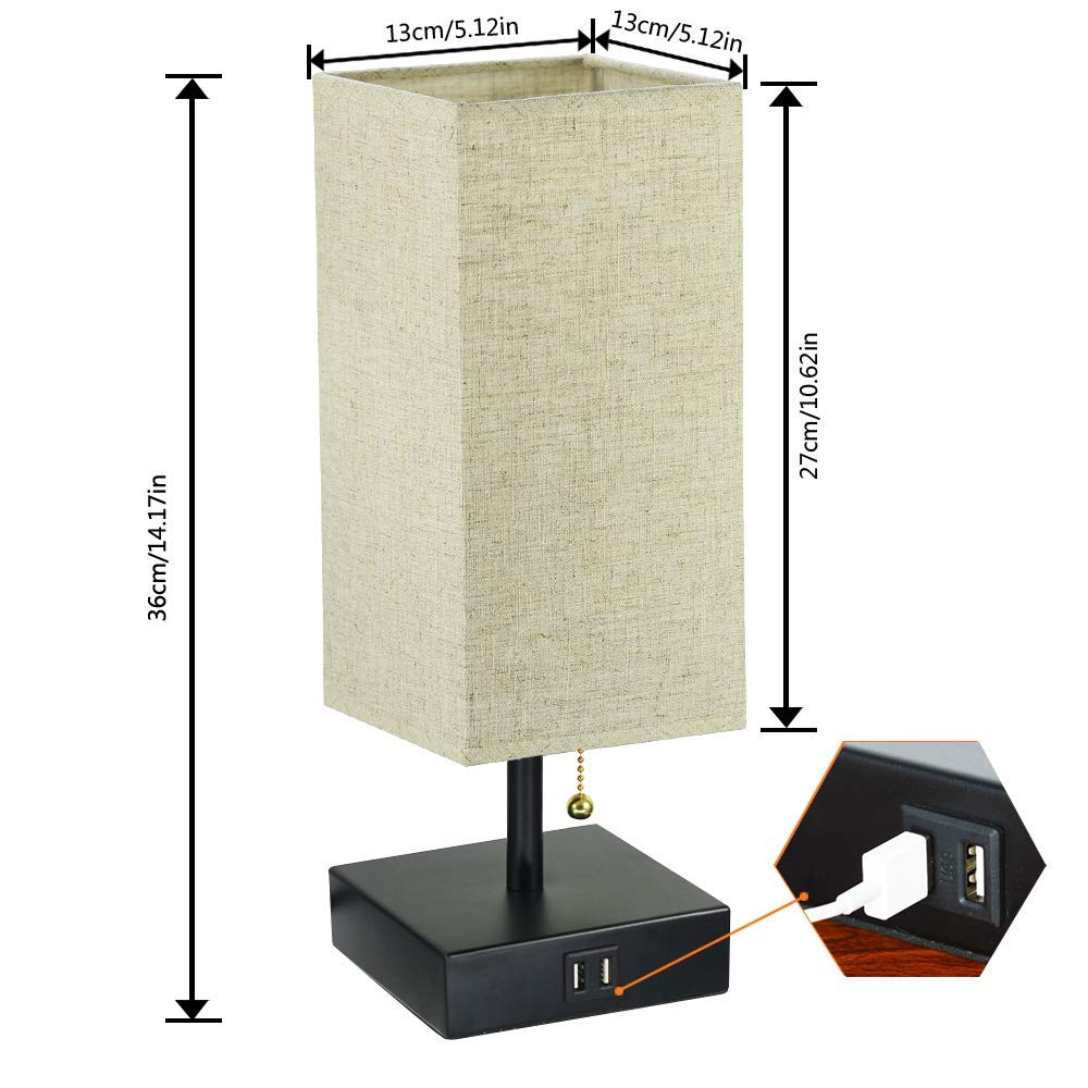 Dual USB Table Desk Lamp, Bedside Nightstand Lamp, Fabric Unique Lampshde,Convenient Pull Chain for Bedroom Living Room(Pack of 2) TY-801