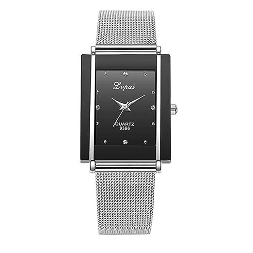 Lvpai Reloj de cuarzo unisex con caja rectangular de acero inoxidable y correa de malla, color negro: Amazon.es: Relojes
