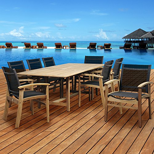Brampton Teak 9-pc Patio Dining Set, Black