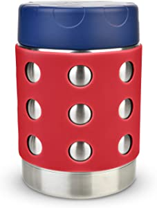 LunchBots Thermal 12 oz Triple Insulated Food Container - Hot 6 Hours or Cold 12 Hours - Leak Proof Thermos Soup Jar - All Stainless Interior - Navy Lid - Red Dots