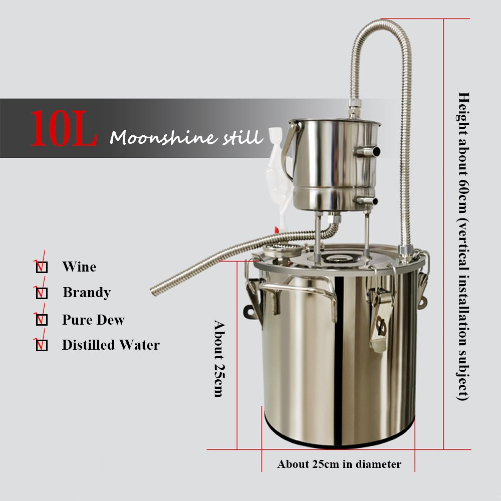10L/20L Stainless Steel Moonshine Still Alcohol Wine Brandy Whisky Water Distiller Oil Brewing Pure Dew Kit YUEWO
