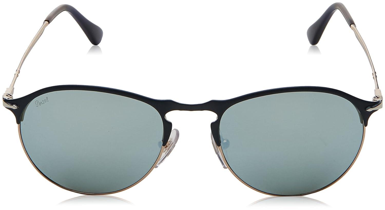 67a55e6f78 Amazon.com  Persol Mens Sunglasses Black Matte Blue Metal - Polarized - 56mm   Clothing