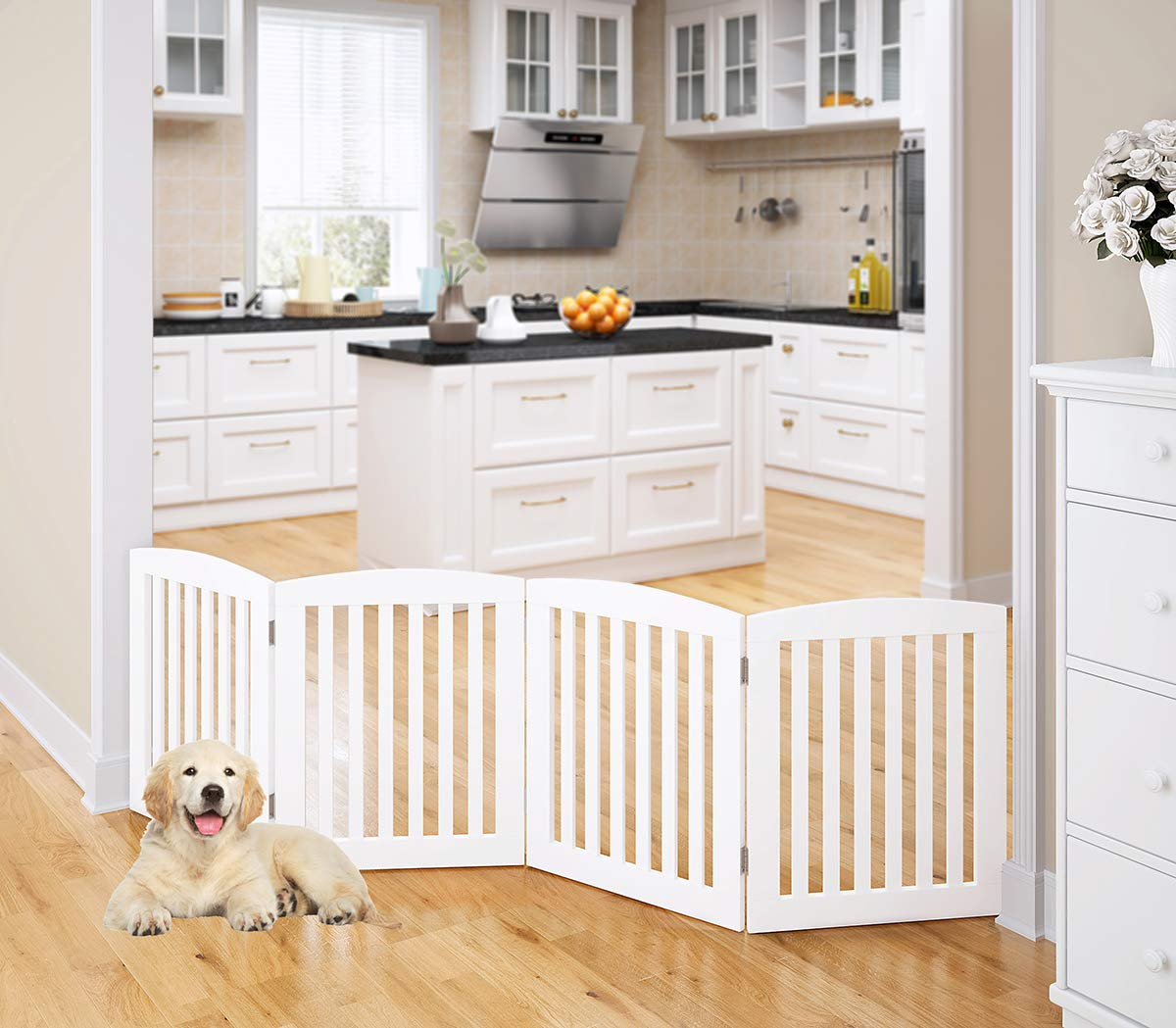PAWLAND Wooden Freestanding Foldable Pet Gate for Dogs, 24 inch 4 Panel Step Over Fence, Dog Gate for The House, Doorway, Stairs, Extra Wide, White by PAWLAND