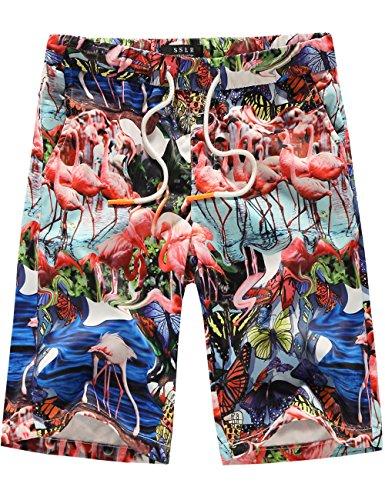 SSLR Men's Flamingos Beach Casual Hawaiian Drawstring Boardshorts (34, Blue)