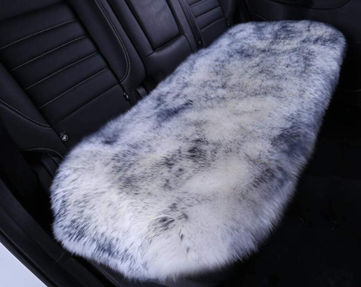 Inzoey Sheepskin Car Back Seat Cover Pad 18x53.5 inch Long Wool Seat Cushion Winter Warm Universal Fit Auto, SUV, Truck, Dinner Chair Office Chair Back Grey Tips