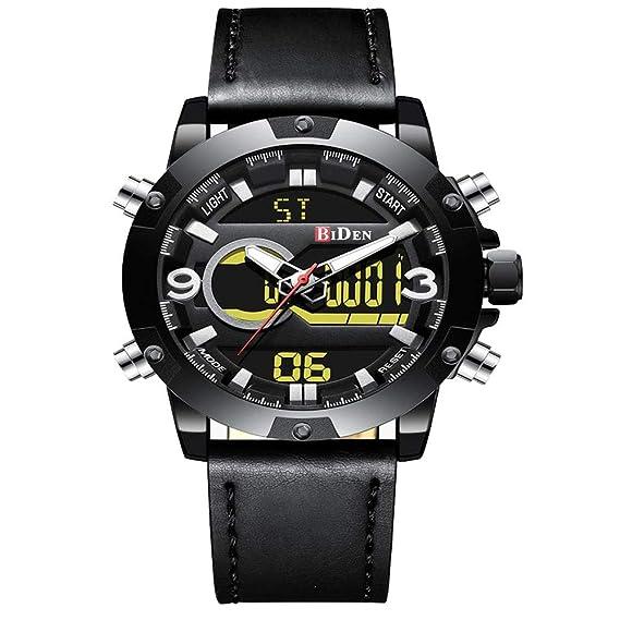 Reloj de Pulsera Deportivo Digital analógico de Cuarzo para Hombre de Cuero con cronógrafo Militar Resistente al Agua: Amazon.es: Relojes