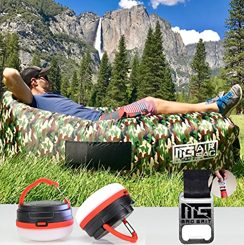 Comfort Sac Lounger - Mad Grit Best Inflatable Sofa Best Air Lounger - Pool Float Lounge Chair - Lazy Hangout Bag - Water Proof Air Hammock - Includes: 2 LED Camping Lights, 3 Pockets & Bottle Opener.