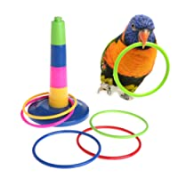 Keersi Bird Parrot Intelligence Toy for Budgie Parakeet Cockatiel Conure Lovebird Cockatoo Amazon Cage Toy (Rings Toy)