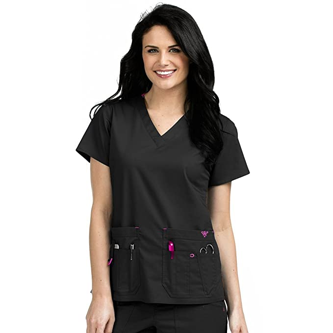 bececbba096 Med Couture Women's Rescue 8425 Security Pocket V-Neck Scrub Top-  Black/Raspberry