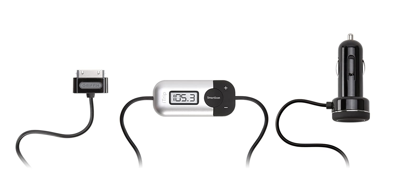 Griffin Itrip Fm Transmitter With Auto Dock Connector Cable For Ipod And Iphone (Silver/Black) Griffin Technology 4056-TRPAUTO