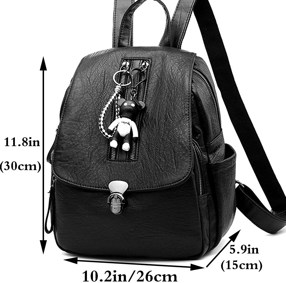 Rullar Women Girls Fashion Backpack PU Leather Travel Hiking Shoulder Bag Daypack Purse Anti-theft Rucksack