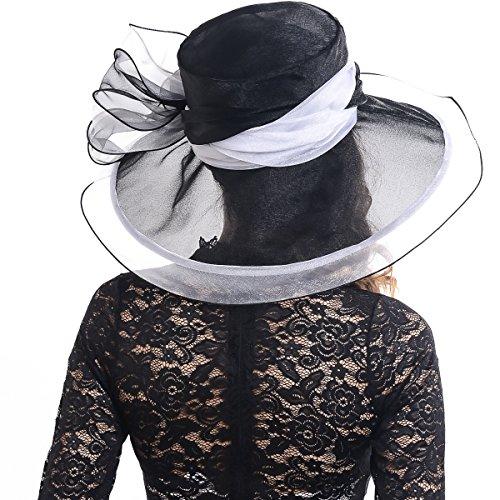 FORBUSITE Women's Organza Church Derby Bridal Cap Tea Party Wedding Hat S039-2