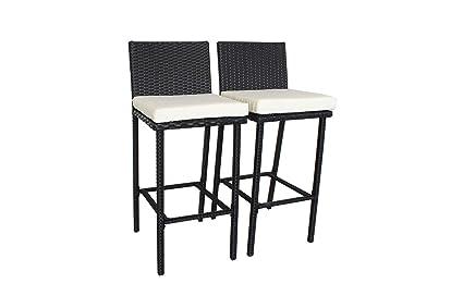 Awe Inspiring Outdoor Patio Furniture Rattan Black Wicker Cushioned Barstool Beige Cushions Set Of 2 Machost Co Dining Chair Design Ideas Machostcouk
