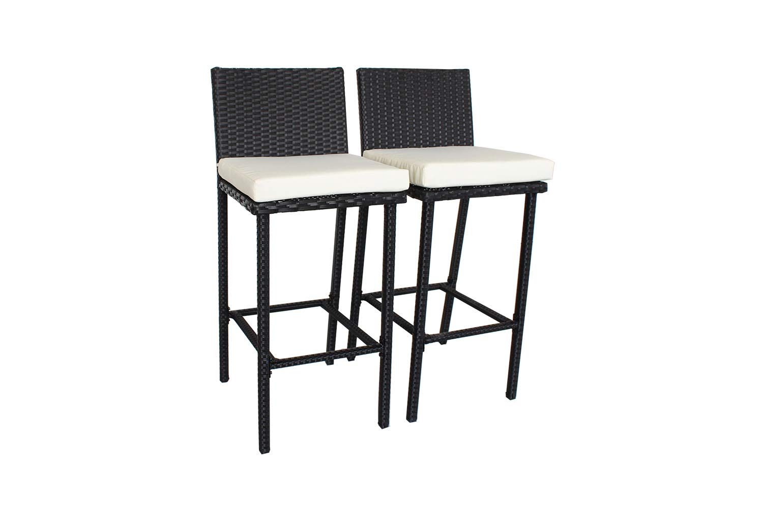 Outdoor Patio Furniture Rattan Black Wicker Cushioned Barstool(Beige Cushions,Set of 2)