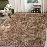 Cozy Fluffy Fuzzy Plush Solid Soft Shaggy Shag Rug Throw Contemporary Living Room Bedroom Indoor Large 5×7 Beige Tan Cream Neutral ( Glorious Beige ) For Sale