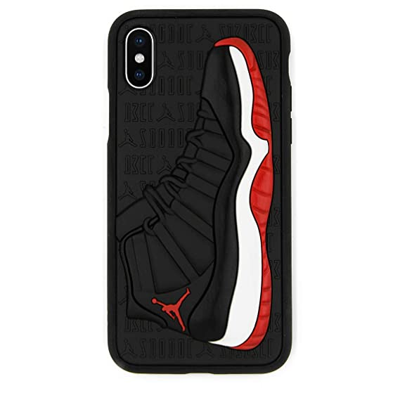 newest 11fca 78a67 iPhone X Case, Jordan 11s 3D Textured Sneaker Shockproof Protective Grippy  Case (Bred (Red))