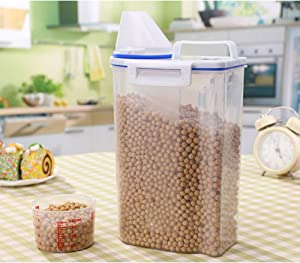 1PCS Rice Bin 2kg Rice Container, 1 Pcs Airtight Cereal Container Rice Barrel Dry Grain Dispenser Thicken Rice Cylinder Clear Food Storage Box with Airtight Design Measuring Cup Pour Spout