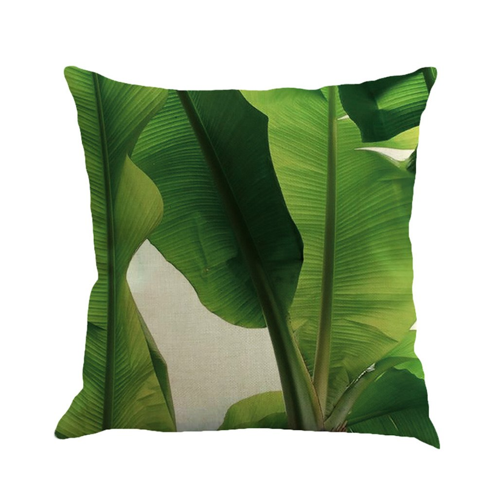 Tropical Tree Leaves Print Cotton Linen Decorative Throw Pillow Cover Cushion Case Pillowcase 4