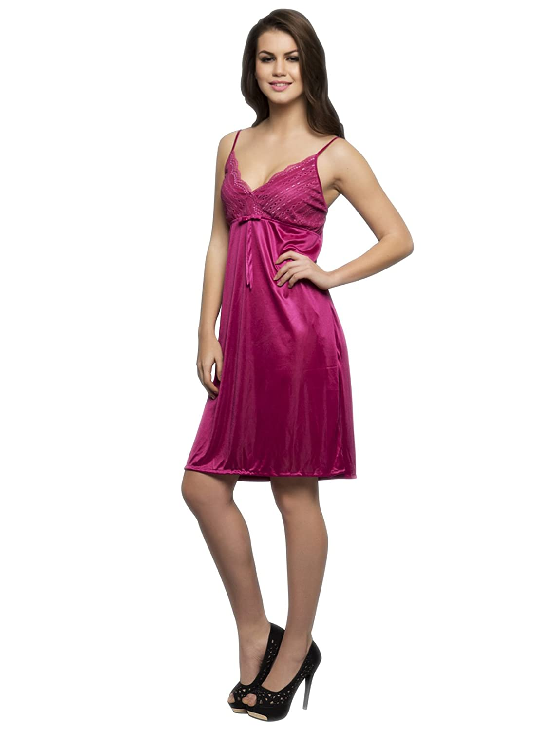 5348ac6f68 Clovia Women s 2 Pc Satin Nighty And Robe Set (Red Free Size)  Amazon.in   Clothing   Accessories
