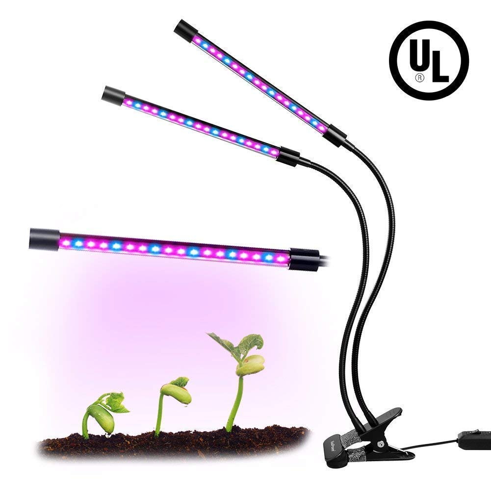 Dual Head LED Plant Grow Light 18W Dimmable 2 Levels Adjustable 360 Degree Flexible Gooseneck for Indoor Plants Hydroponics Greenhouse Garden Home Office[UL Listed, 2018 Upgraded]