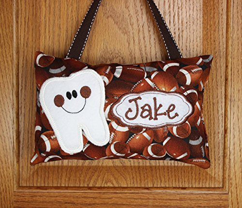 Boys personalized tooth fairy pillow football, optional tooth chart available