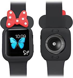 Soft Silicone Mouse Ears Protective Case Disney Character Compatible with I Watch Series 4 40MM 44MM for Kids (Black + red, 44MM)