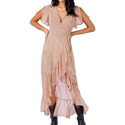 BOBOLover Mini Vestido Bohemio Casual para Mujer, Estampado de Verano, con Volantes, Cuello en V, Dobladillo Plisado, Cuello en V Volantes Dividida Larga Vestido Largo Mujer: Ropa y accesorios