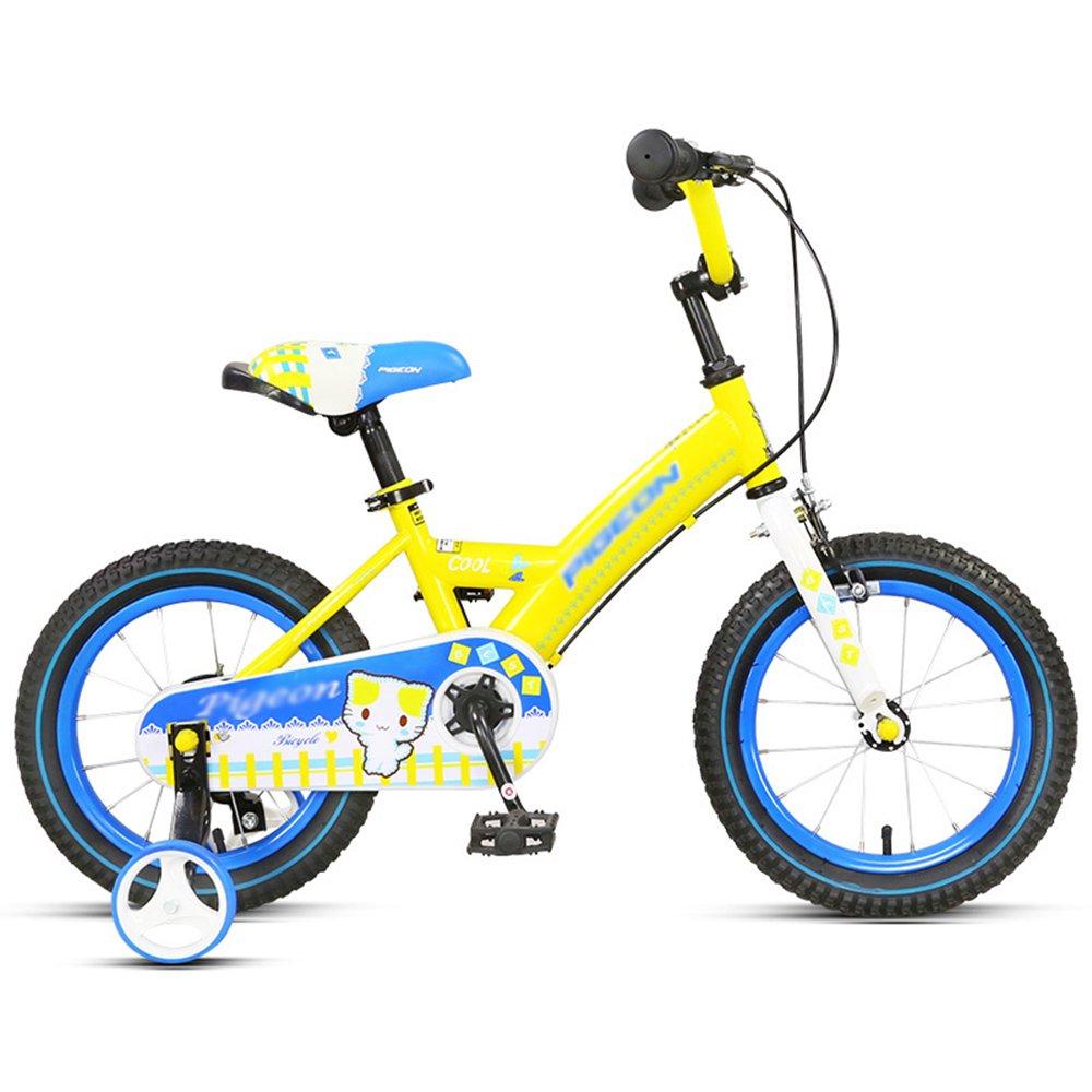YANGFEI 子ども用自転車 子供用自転車 トレーニングホイール付きの少年の自転車と少女の自転車 14インチ、16インチ アウトドアアウト 212歳 14 inch イエロー いえろ゜ B07HVF96SG