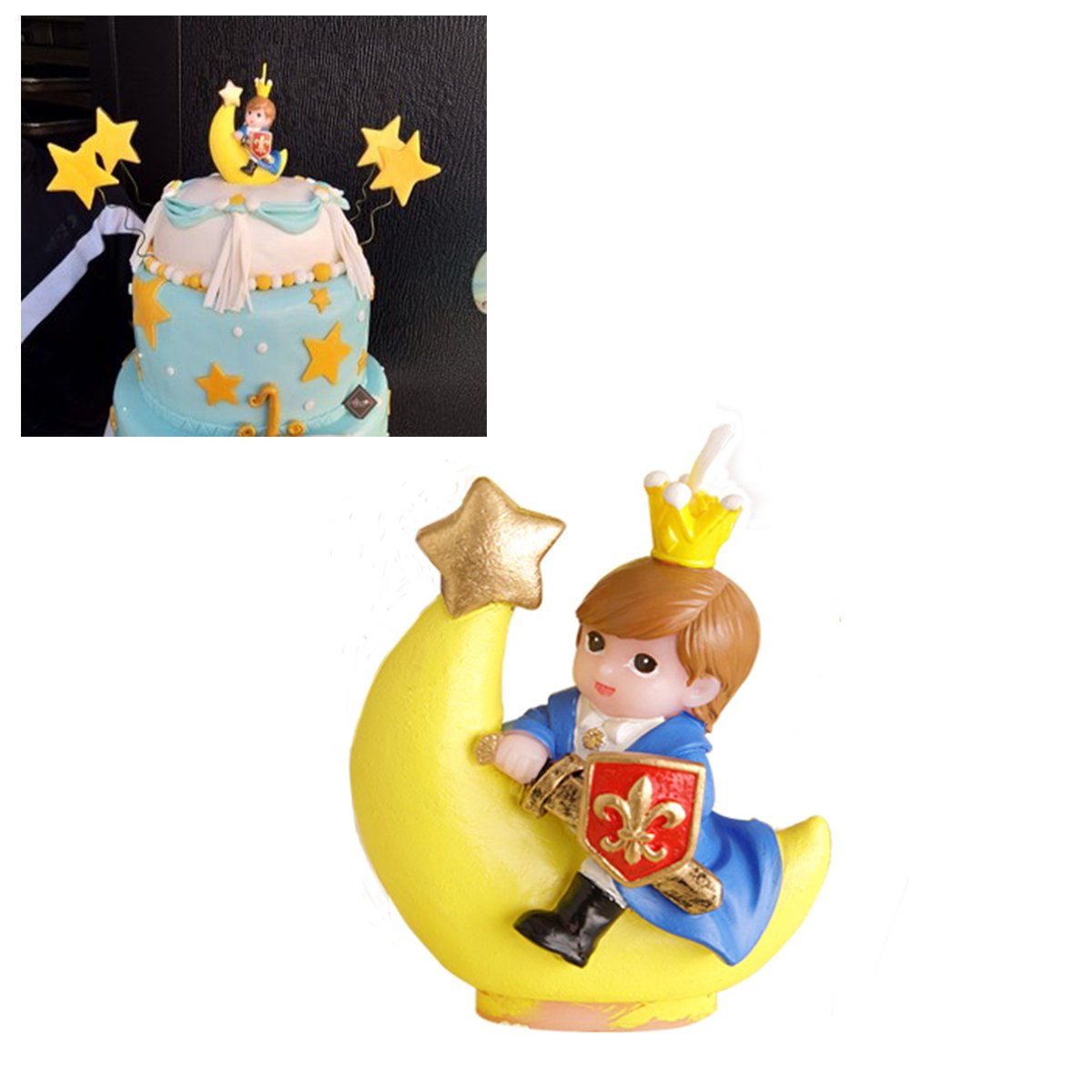 Beyonder Children's Birthday Candles with Greeting Card,Handmade Adorable Prince Smokeless Baby Shower Baby Birthday Cake Topper Candle, Baby Shower Party Favors Decorations (1, Prince)