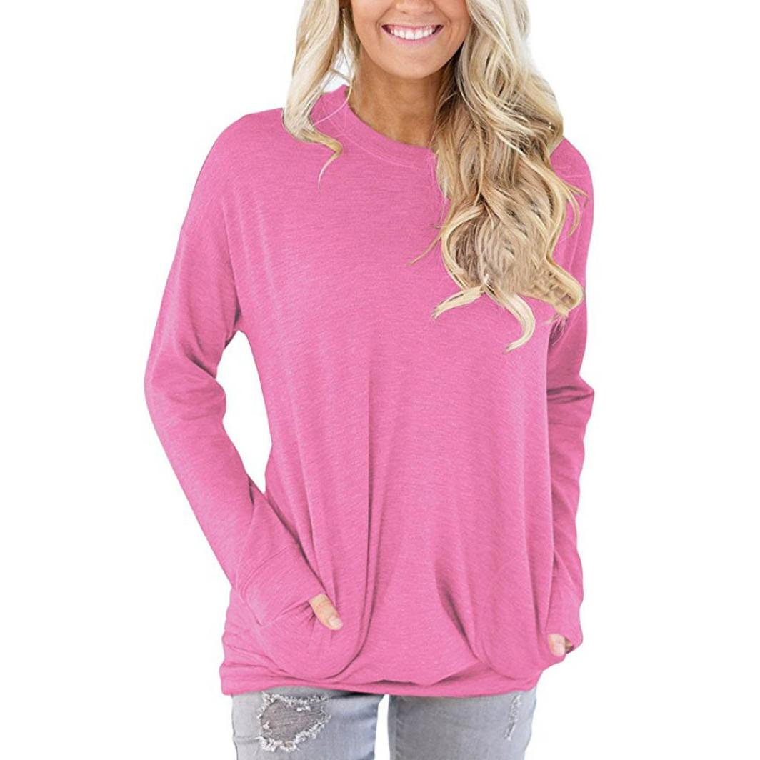 KaiCran fashion sweatshirt women Casual Long Sleeve Cotton Solid Loose Pockets T-Shirt Blouses Tops (Pink, Small)