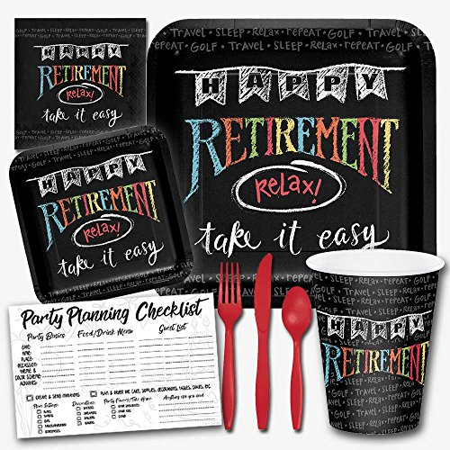 Honey Dew Gifts Retirement Chalk Theme Party Supplies Set - Serves 8 Guests