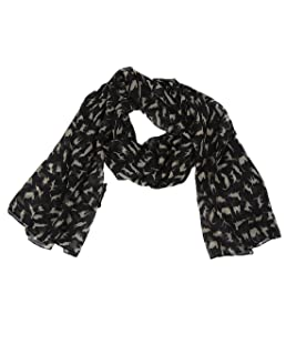 Fashion Soft Chiffon Prints Ladies /Women Long Scarf Shawls (black cat)