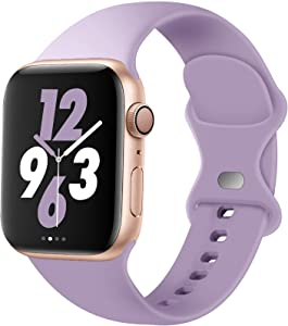 Acrbiutu Bands Compatible with Apple Watch 38mm 40mm 42mm 44mm, Replacement Soft Silicone Sport Strap for iWatch SE Series 6/5/4/3/2/1 Women Men, Lavender 38mm/40mm S/M