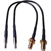 Lot de 2 adaptateurs pour antenne LTE - Pigtail - 20 cm - Avec prise SMA et prise CRC9 (compatible avec les câbles d'antenne SMA, les modems et les mini récepteurs avec prise d'antenne CRC9)